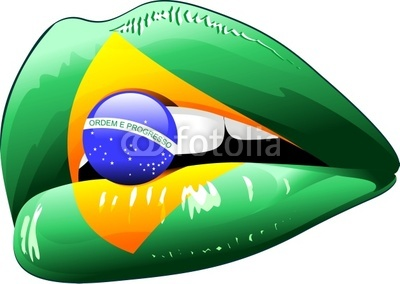 Brazil Flag Colors on Sensual Woman's Lips