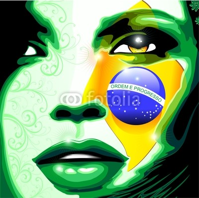 Brazil Flag Colors on Beautiful Girl's Portrait
