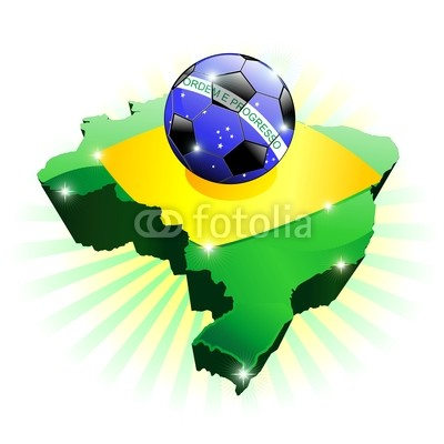 Brazil Soccer Flag on Map