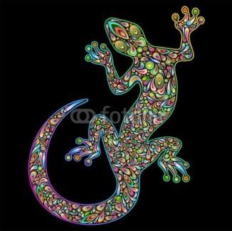 Geko Lizard Psychedelic Art Design