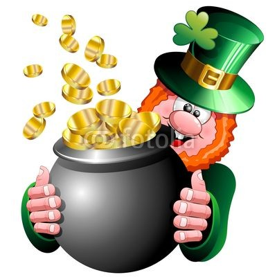 St Patrick Cartoon Character with Money on Pot