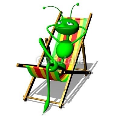 Ant Cartoon tanning on Deck Chair! Summer Holidays