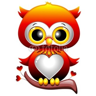 Baby Owl Love Heart Cartoon Character