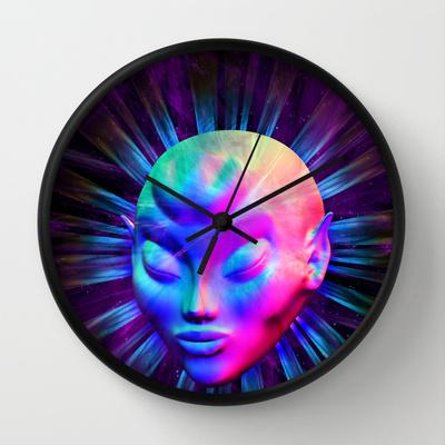 Alien Meditation on Rainbow Colors Wall Clock