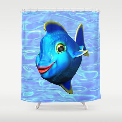 Cute Blue Fish Cartoon 3D Digital Art