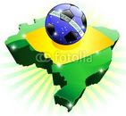 Brazil Soccer Flag on Map-Vector © bluedarkat