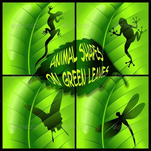 Animals Shapes on Green Leaves