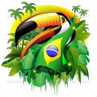 Toco Toucan with Brazil Flag - Vector Illustration © BluedarkArt