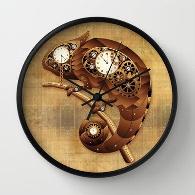 steampunk chameleon vintage style wall clock by bluedarkat lem society6
