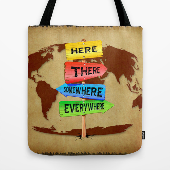 Directions Panels Wanderlust Tote Bag