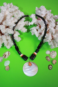 BlackCoral-Spondylus-Mother of Pearl-Sterling Silver
