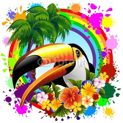 Toucan on Rainbow Tropical Frame