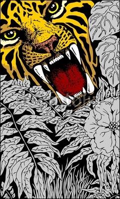 Wild Tiger Roar Doodle Art Vector illustration - by Bluedarkart