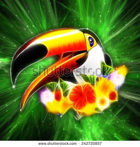 Toucan on Green Galaxy - Digital Art by BluedarkArt