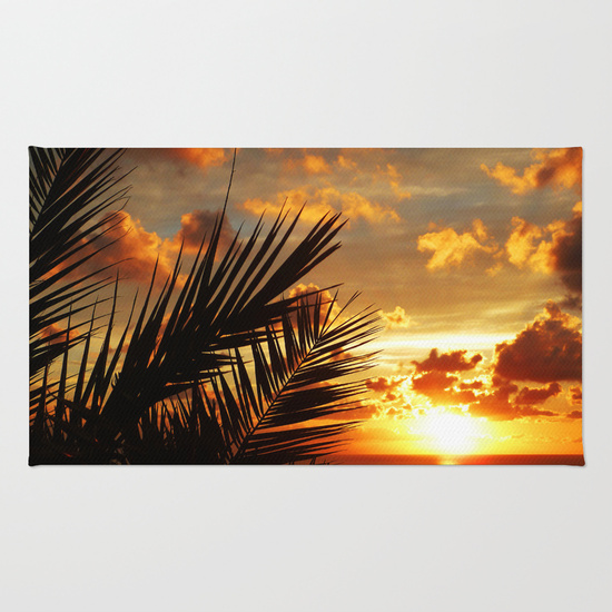 Golden Sunset on the Ocean with Palmtree Rug by BluedarkArt ~ Society6 Shop