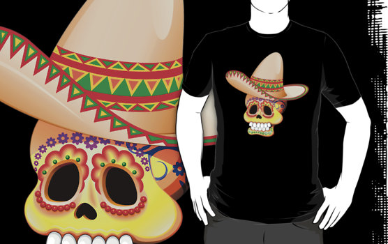 Mexico Sugar Skull with Sombrero Tshirt - by Bluedarkart on Redbubble