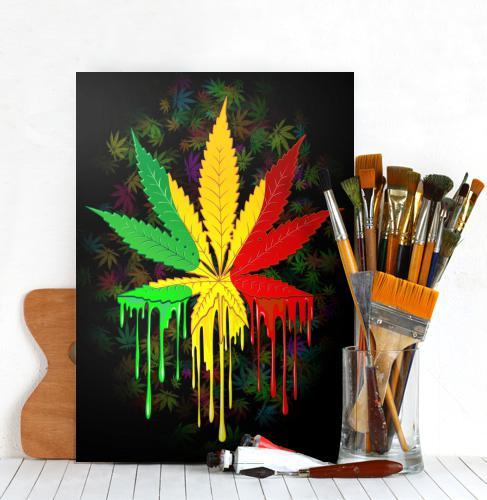 Marijuana Leaf Rasta Colors Dripping Paint Metal Poster by Bluedarkart on Displate