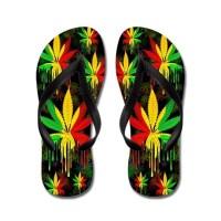 Marijuana Leaf Rasta Colors Dripping Paint Flip Flops for Summer ☀