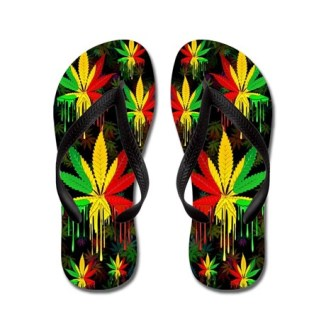 Marijuana Leaf Rasta Colors Dripping Paint Flip Fl by Bluedarkartgifts