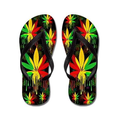 Marijuana Leaf Rasta Colors Dripping Paint Flip Fl by Bluedarkartgifts