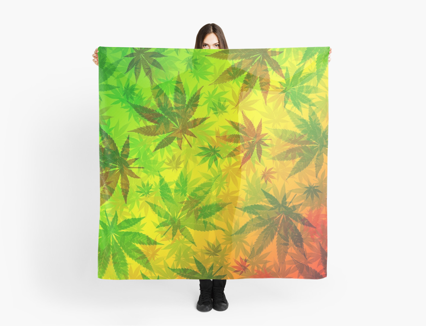 """Marijuana Cannabis Leaves Pattern"" Scarves by BluedarkArt 