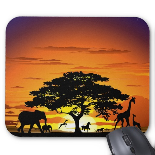 Wild Animals on Savannah Sunset Mousepad | by BluedarkArt | Zazzle