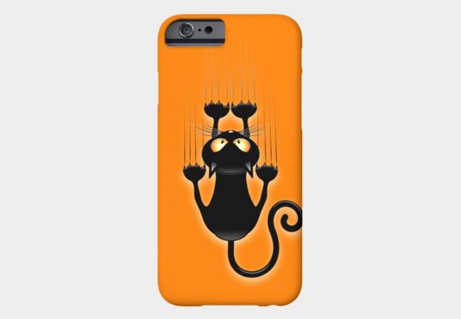 Fun Black Cat Cartoon Scratching Wall Phone Case By BluedarkArt Design By Humans