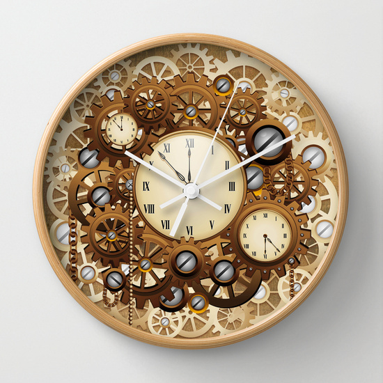 Steampunk Vintage Style Clocks and Gears Wall Clock by BluedarkArt | Society6