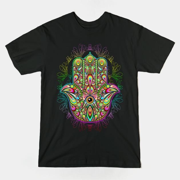 T-Shirts, Hamsa Hand Amulet Psychedelic | TeePublic