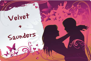 Saunders + Velvet with text Vector