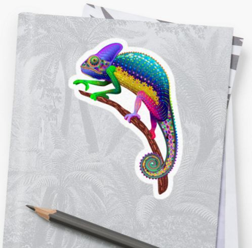 Chameleon Fantasy Rainbow Colors Stickers - by BluedarkArt
