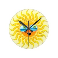 SOLD! Summer Sun Cartoon with Sunglasses clock | by BluedarkArt at Zazzle | Thanks!