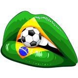 Brazil Flag Lipstick Soccer Supporters Stock Image