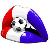 France Flag Lipstick Soccer Supporters Stock Photo