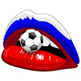 Russia Flag Lipstick Soccer Supporters Stock Photography