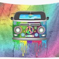 "SOLD! ""Hippie Van Dripping Rainbow Paint"" Wall Tapestries"