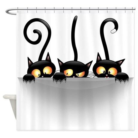Three Naughty Playful Kitties Shower Curtain