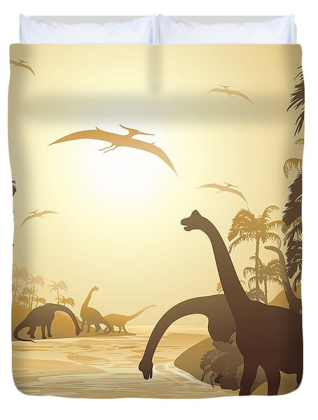 Duvet Cover featuring the digital art Dinosaurs On Peaceful Jurassic Landscape by BluedarkArt Lem