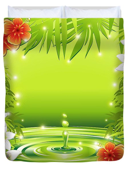 Duvet Cover featuring the digital art Fresh Green Water Bamboo And Tropical Flowers by BluedarkArt Lem