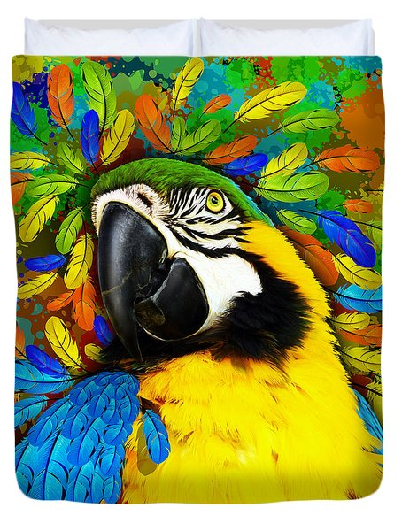 Duvet Cover featuring the mixed media Gold And Blue Macaw Fantasy by BluedarkArt Lem