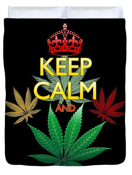 Duvet Cover featuring the digital art Keep Calm And Marijuana Leaf by BluedarkArt Lem