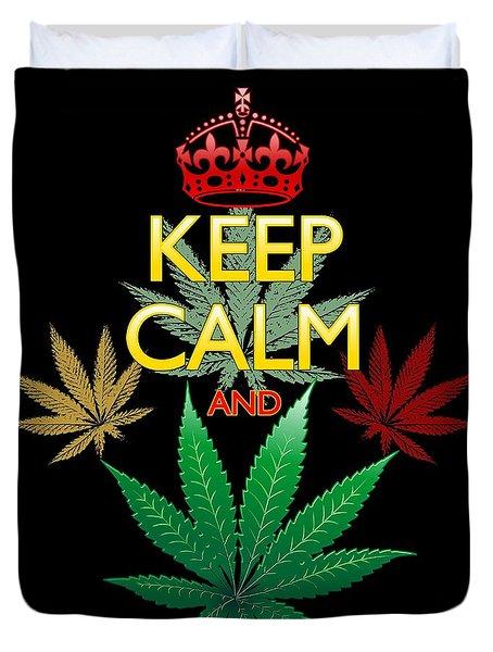 Duvet Cover featuring the digital art Keep Calm And Marijuana Leaf by BluedarkArt Lem