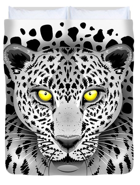 Duvet Cover featuring the digital art Leopard Portrait With Yellow Eyes by BluedarkArt Lem