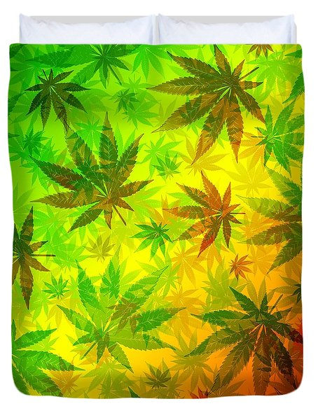 Duvet Cover featuring the digital art Marijuana Leaves Rasta Pattern by BluedarkArt Lem