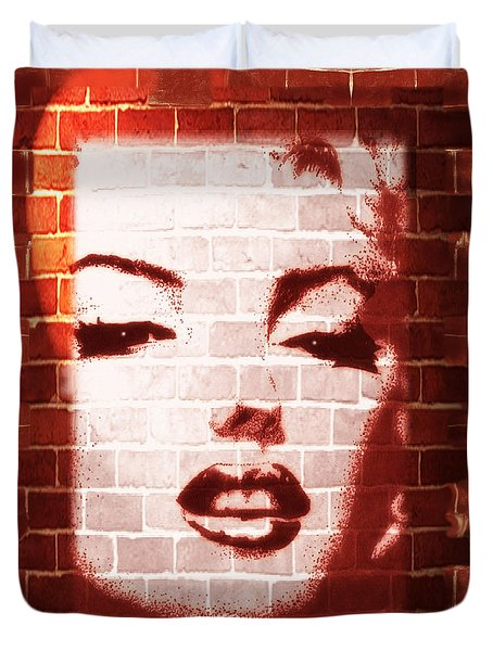Duvet Cover featuring the mixed media Marilyn Street Art On Brick Wall by BluedarkArt Lem