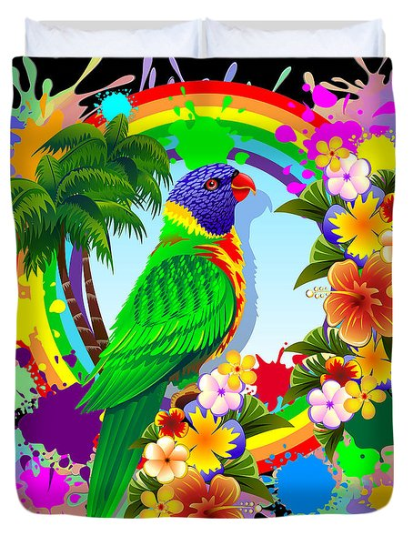 Duvet Cover featuring the digital art Rainbow Lorikeet Tropical Colors Explosion by BluedarkArt Lem