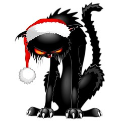 Christmas Evil Black Cat Funny Character