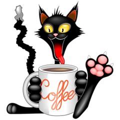 Funny Happy Cat with Big Coffee Mug