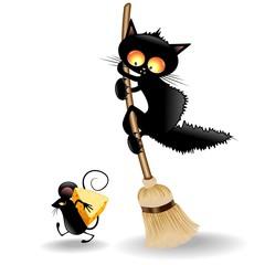 Cartoon Cat scared by Mouse-Gatto Spaventato da Topo