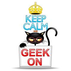 Keep Calm and Geek on Cartoon Cat